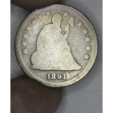 25 Cent Quarter 1891 AG3 gldn tn stronger OBV