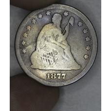 25 Cent Quarter 1877 VG8 even orig. golden grey tone
