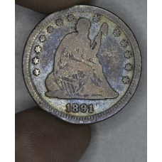 25 Cent Quarter 1891 F12 rich colorful orig. toning