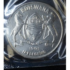 Botswana 50 Thebe 1991 MS64 nickel plated Steel KM#7a fantastic