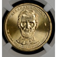 $1 One Dollar 2010 D Pres. MS65 A. Lincoln NGC bright
