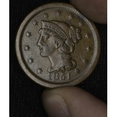 1c One Cent Penny 1851 F15 BN even original chocolate brown