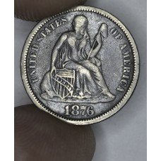 10c Dime 1876 VF30 dark gray tone gold hues