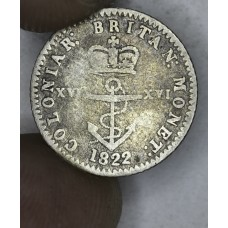 British West Indies 1/16 Dollar 1822 VG10 silver KM#1 lt gld gry tn