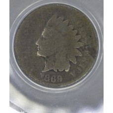 1c One Cent Penny 1869 AG3 ANACS even choc brown certified