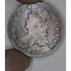 50c Half Dollar 1827 F15 Square Base 2 even golden grey CH