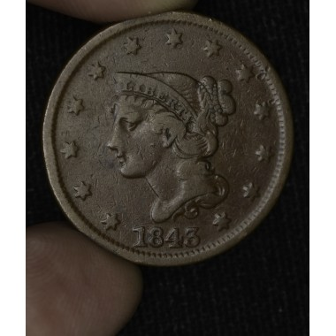 1c One Cent Penny 1843 F15 Petite Head Small Letters rich chocolate brown
