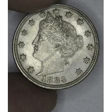 5c Nickel 1883 Lib AU58 No Cents light tone