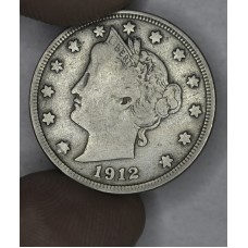 5c Nickel 1912 D F12 light golden toning