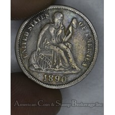 10c Cent Dime 1890 VF20 even grey toning