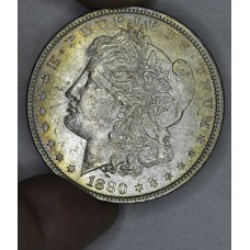 $1 One Dollar 1880 P MS62 rich colorful toned edge choice