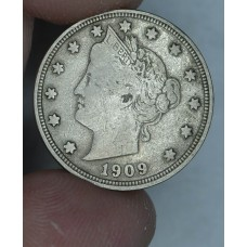 5c Nickel 1909 F12 even orig. golden grey toning