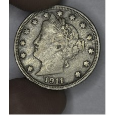 5c Nickel 1911 VF20 even golden grey toning