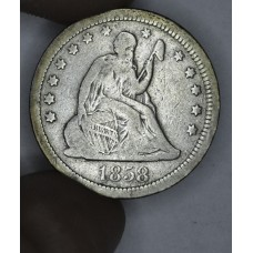 25c Cent Quarter 1858 VG10 gldn gry tn org sold as F12