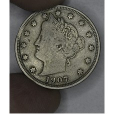 5c Nickel 1907 F12 hazy golden grey hue
