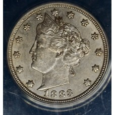 5c Nickel 1883 Lib AU55 No Cents ANACS lt tn nice