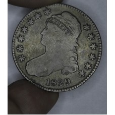 50c Cent 1/2 Half Dollar 1829 VG8 muted golden gry color pretty