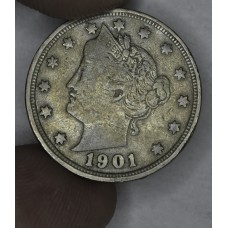 5c Nickel 1901 VG10 light golden grey