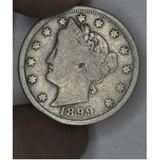 5c Nickel 1899 VG10 lt original toning nice