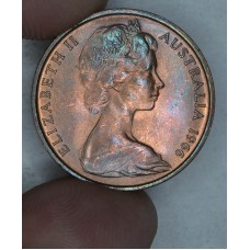 Australia 2 Cents 1966 UNC bronze KM#63 mostly red hue