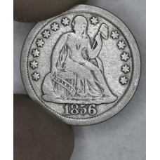 10c Cent Dime 1856 VF35 Large Date sharp & choice even grey