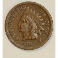 1c One Cent Penny 1873 VG10 Closed 3 chocolate tone