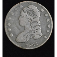50c Cent 1/2 Half Dollar 1834 F12 Small Letters Small Date even med grey