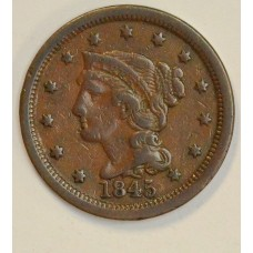 1c One Cent Penny 1845 VF30 even chocolate brown