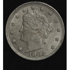 5c Nickel 1902 AU58 light gold toning