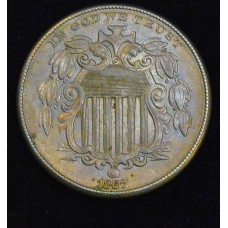 5c Nickel 1867 AU55 No Rays gold pastels; lustrous CH
