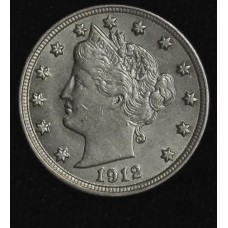 5c Nickel 1912 P AU58 light gold toning; lustrous