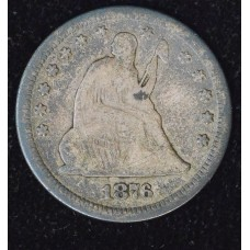 25c Cent Quarter 1876 F12 dark toning steel grey