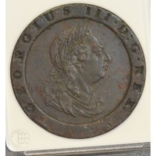 Great Britain 2P Pence 1797 EF40 copper crown KM#619 contact marks. SALE