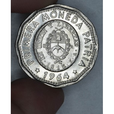 Argentina 25 Pesos 1964 BU nickel-steel KM#61 bright super