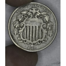 5c Nickel Five Cents 1867 VF20 W/Rays light grey tone