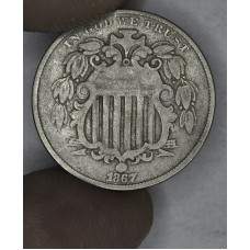 5c Nickel Five Cents 1867 F12 W/Rays hazy grey