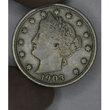 5c Nickel Five Cents 1903 F15 pale golden grey