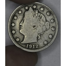 5c Nickel Five Cents 1912 F12 even gold grey hue