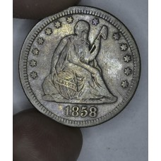 25c Cent Quarter 1858 F15 light mottling