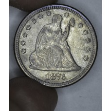 25c Cent Quarter 1876 VF30 pewter grey toning