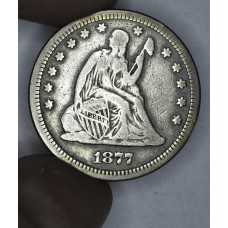 25c Cent Quarter 1877 F15 lt gold grey hue