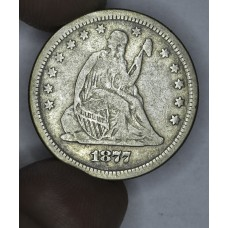 25c Cent Quarter 1877 S F15 light original tone