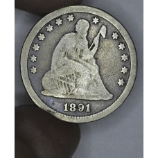 25c Cent Quarter 1891 VG10 golden grey toning