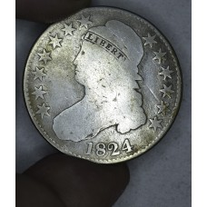 50c Cent 1/2 Half Dollar 1824 G4 some gold toning