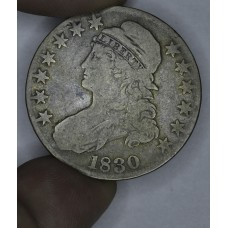 50c Cent 1/2 Half Dollar 1830 VG10 Small 0 golden hue