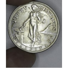Philippines 50 Centavos 1944 S AU50 silver KM#183 light tone
