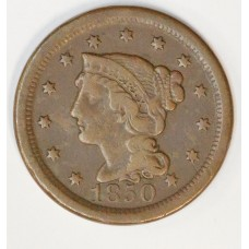 1c One Cent Penny 1850 VF20 even chocolate brown tone