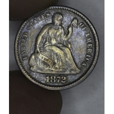 1/2 Half Dime H10C 1872 F15 dk grey tn hint of blue rev