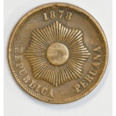 Peru 2 Centavos 1878 VF20 bronze KM#188.1a light toning