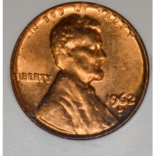 1c One Cent Penny 1962 D MS65 RD NGC mint gldn rd lustrous